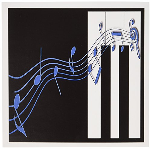 - 3dRose Blue Music Notes on Piano Keys - Greeting Cards, 6 x 6 inches, set of 12 (gc_12997_2)