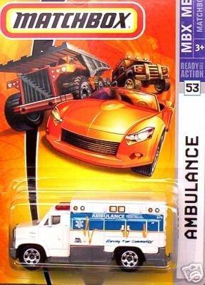 Mattel Matchbox 2007 MBX Metal 1:64 Scale Die Cast Car # 53 - White Ambulance with Blue Stripe