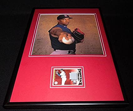 9e8c0482a Image Unavailable. Image not available for. Color  Pedro Martinez Framed  12x18 Game Used Jersey   Photo Display Red Sox ...