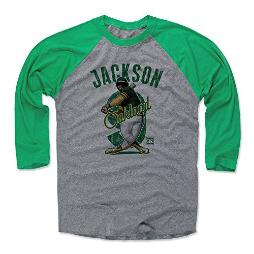 (500 LEVEL Reggie Jackson Baseball Tee Shirt (XX-Large, Green/Heather Gray) - Oakland Athletics Raglan Tee - Reggie Jackson Arch G)
