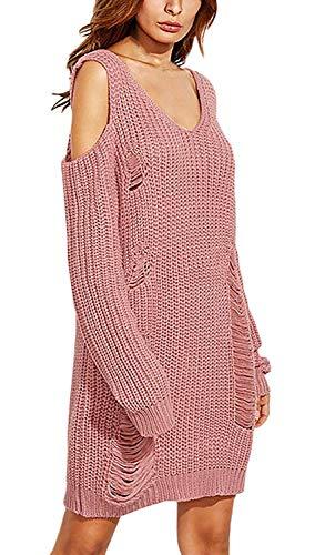 Camicia Maglieria Pullover Maniche Baggy Rose A Abbigliamento Casual Pullover Donna off Elegante Maglia Autunno A V Pullover Invernali Lunghe Monocromo Neck Shoulder Lunghi Maglioni Vintage Camicetta CnCqga0wXA