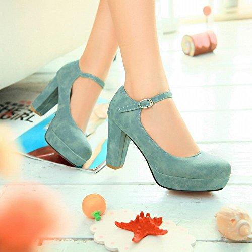 MissSaSa Damen Chunky heel Plateau Pumps mit Knöchelriemchen bequem high-heels Schnalle Kleidschuhe Blau
