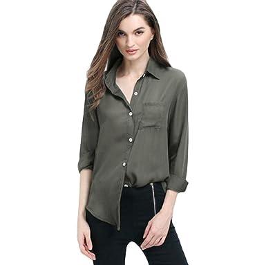 966d5235e9401 TUDUZ Women Shirt Newest Creative Design Womens Ladies Shirt Long Sleeve  Chiffon OL Buttons T Shirt Casual Loose Blouse Tops with Pocket   Amazon.co.uk  ...