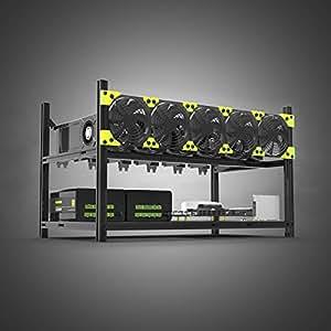 Caja de aluminio 6 GPU, marco de ventilación para ETH/ETC/Zcash 6 GPU