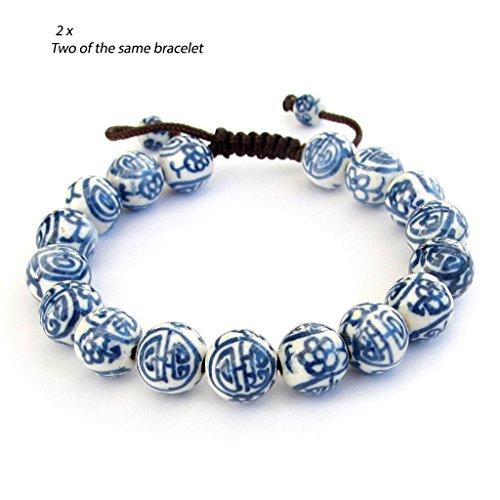 2pcs X Vintage Style Porcelain Beads Buddhist Wrist Mala Bracelet