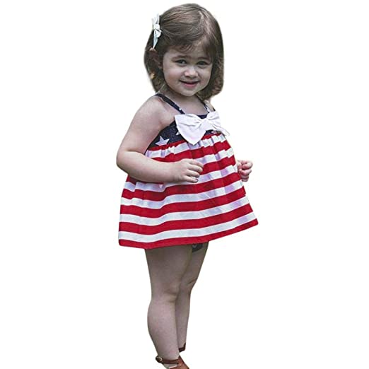 fa25653084527 Amazon.com: Rucan Girls Dresses, 2Pcs Infant Baby Girls 4th of July ...