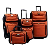 Nesting Design Amsterdam 4-piece Luggage Set Fabric Polyester Multiple Front Pockets (Orange)