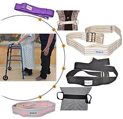 """MABUA Physical Therapy Gait Belt with Metal Buckle -1 Loop Handle Beige 60"""", 1 Loop Handle Beige 72"""", Black 60"""", Pink 60"""""""