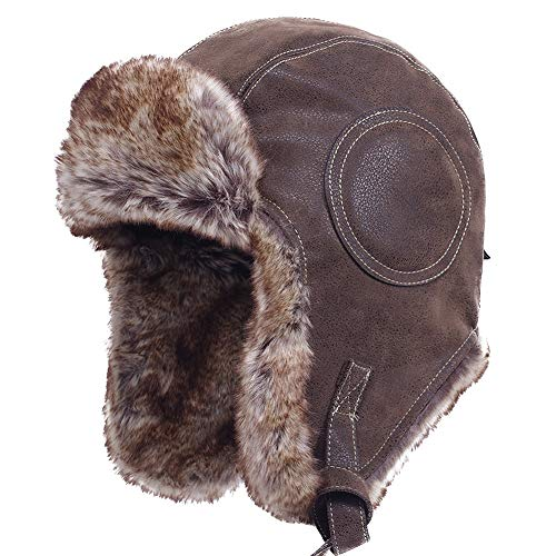 Leather Pilot Cap - Janey&Rubbins Unisex Winter Knit Russian Ushanka Cossack Trapper Pilot Aviator Cap Hat (L, A - Brown Leather)