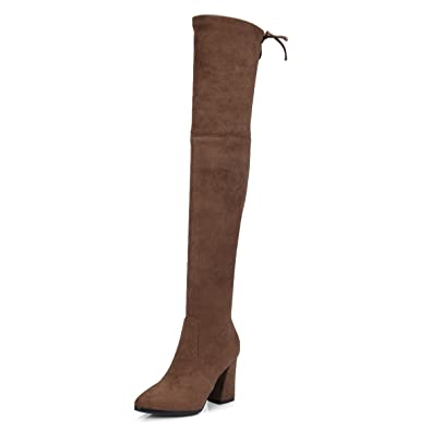 56b48a83e8268 Themost Womens Over The Knee Long Boots Round Toe Lace Up Low Chunky Heeled  Suede Stretch