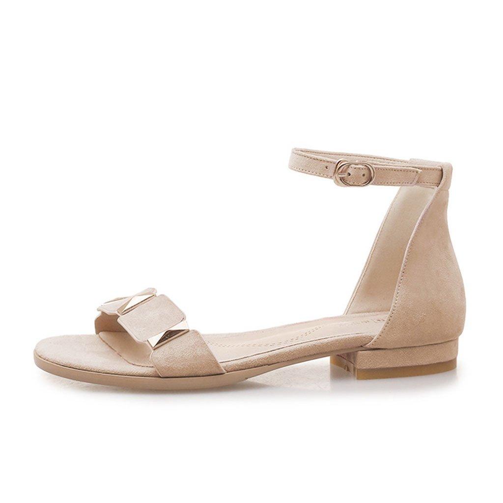 KaiGangHome Flache flache Schuhe des Sommers flache weibliche flache Schuhe Schuhe Schuhe der Frauen wilde Schnalle mit flachen Fersensandalen (Farbe   Beige Größe   37) 9a44a8