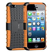iPhone 5S Case,iPhone 5 Case,Armor Heavy Duty Protection Rugged Dual Layer Hybrid Shockproof Case Protective Cover for Apple iPhone 5 5S with Built-in Kickstand (Orange)