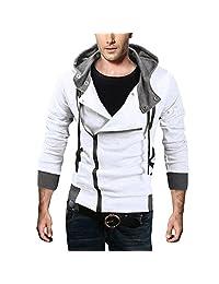 DJT Men's Oblique Zipper Hoodie Casual Top Coat Slim Fit Jacket