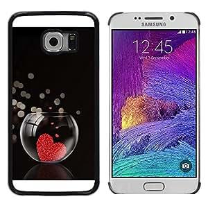 Caucho caso de Shell duro de la cubierta de accesorios de protección BY RAYDREAMMM - Samsung Galaxy S6 EDGE - Love Heart Aquarium