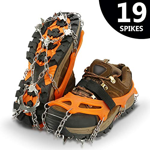 IPSXP Traction Cleats, Ice Snow Grips Crampons for Footwear with 19 Stainless Steel Spikes for Walking, Jogging, Climbing, Hiking on Snow and Ice - M