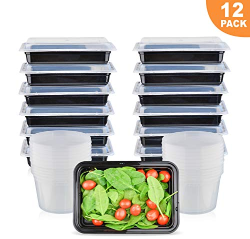 (Meal Prep Containers Single Compartment [12] (28oz) and [12] (16oz) Deli Cups | BPA Free| Stackable | Microwave/Dishwasher/Freezer Safe | Food Storage Bento Boxes)