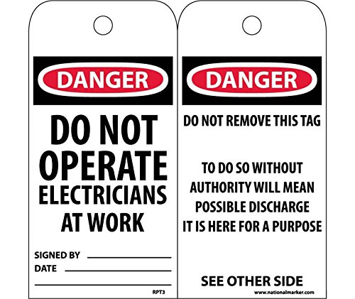 Danger Do Not Operate Electricians At Work Tag - Pack of 25 by National Marker (Image #1)