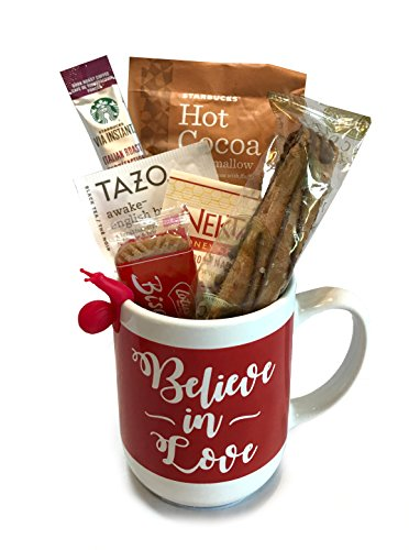 Coffee Tea Cocoa Mug Gift Set with Starbucks Via Coffee, Starbucks Hot Cocoa, Tazo Tea, Honey, Nonni's Biscotti + More -Lots of Cup Styles- (Believe in (Shortbread Cookies Dipped In Chocolate)