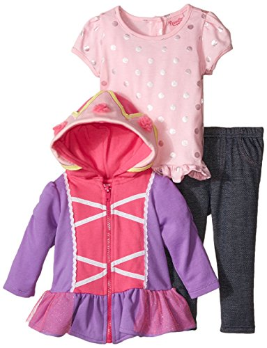 3 Piece French Terry Jacket - Nannette Baby Girls' 3 Piece French Terry Jacket Set with Creeper, Pink, 18 Months