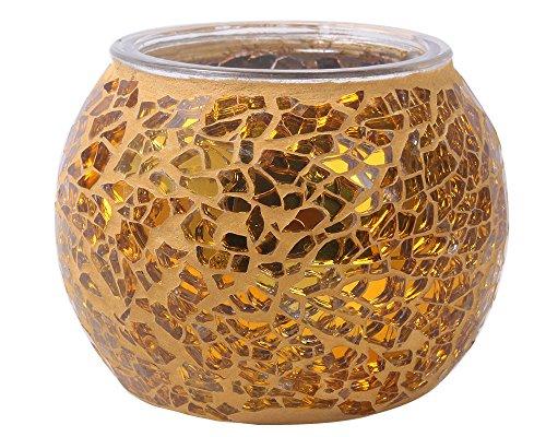 niceEshop(TM) Mosaic Glass Tea Light Votive Candle Holders Candleholder Stand (Golden)