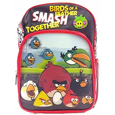 "Rovio Angry Birds Boys & Girls 16"" Canvas Red School Backpack 3D Applique 