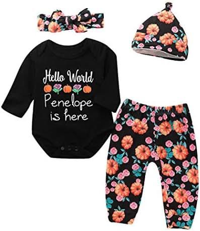 GoodLock Clearance!! Baby Boys Girls Halloween Clothes Set Infant Letter Print Romper Headbands Pants Cap Outfits 4Pcs