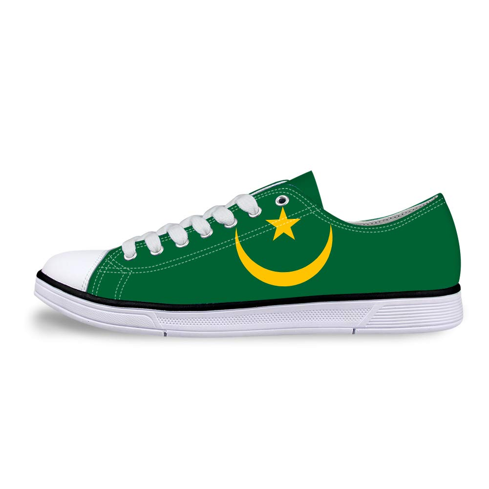 Canvas Low Top Sneaker Casual Skate Shoe Mens Womens Mauritania Flag