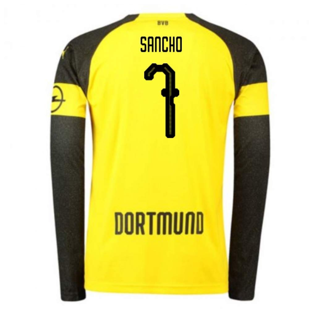 2018-2019 Borussia Dortmund Home Long Sleeve Puma Football Soccer T-Shirt Trikot (Jadon Sancho 7) - Kids