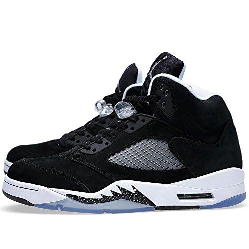 Nike Air Jordan 5 Retro 136027-035 - Zapatillas deportivas de cuero para hombre black/cool grey-white