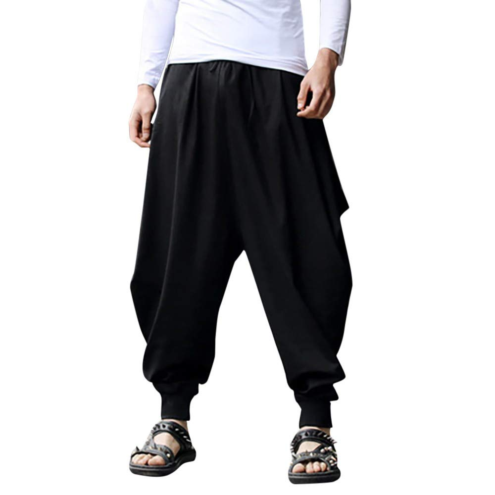 Men's Baggy Harem Pants - Mens Yoga Hippie Wide Leg Cotton Linen Relaxed Fit Boho Trousers - Casual Comfy Drawstring Elastic Waist Pants (XXXXL, Black)