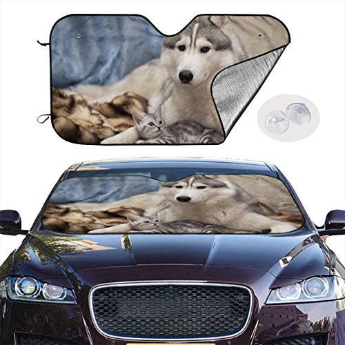 Windshield Sunshade Siberian Husky for Cars Sun Shade Premium Quality Reflective Material Blocks Heat & Sun and Keeps Your Vehicle Dash Cool (51 X 27.5 / 55x 30 Inches)]()