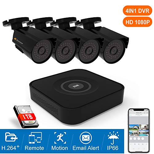 Jennov AHD Security Camera System 8CH 1080P CCTV Home Surveillance Kit DVR with 4pcs 2MP Wired Outdoor Security Cameras Night Vision IP66 Weatherproof,Remote Access,Motion Detection,1TB Hard Drive