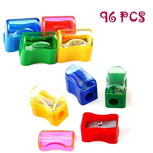 Finico 96 PCS Coloured Plastic Pencil Sharpener,Kids Plastic Manual Pencil Sharpener with Cap Bulk Set,Plastic Manual Pencil Sharpener,Mini Handheld Sharpener with Lid by Finico