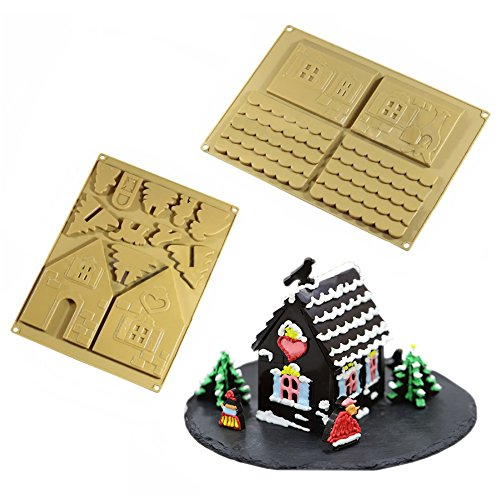 Forvel Easy Silicone Festival Christmas Gingerbread House and Chocolate Biscuit Baking Mold Kit - Large
