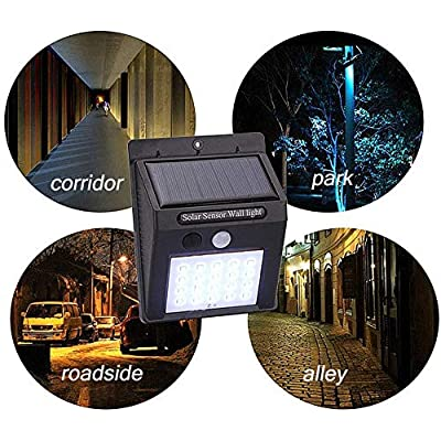 Solar Motion Sensor LED Light Outdoor, Security Wireless Waterproof Solar Wall Light for Patio Deck Yard Garden Stairway Driveway Pathway(4-Pack)