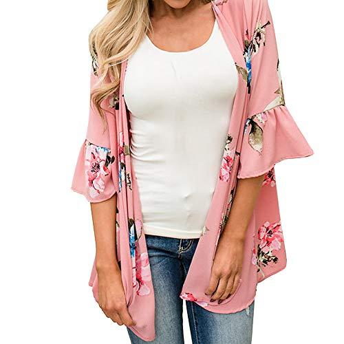 clearance sale!!ZEFOTIM Women Chiffon Loose Shawl Print Kimono Cardigan Top Cover Up Blouse Beachwear (M,Pink) -