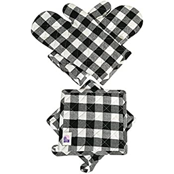 Amazon Com Oven Mitts Amp Pot Holders Checkered Black