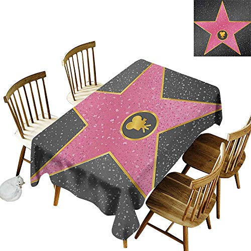 kangkaishi Waterproof Anti-Wrinkle no Pollution Long Tablecloth Hollywood Walk of Fame Symbol Celebrity Entertainment Culture W60 x L102 Inch Charcoal Grey Pale Pink]()