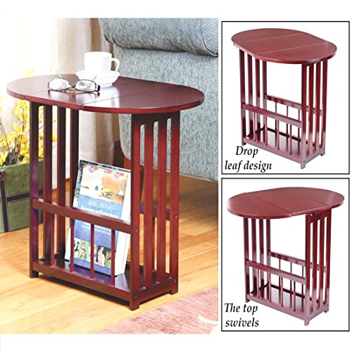 wooden-drop-leaf-table-magazine-side-swivel-furniture-end-rack-organizer-storage