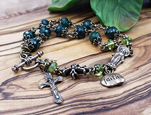 - Antique Style Natural Emerald Ornate Solid Bronze 1 Decade Rosary Bracelet Love,Joy,Faith,Abundance,loyalty,May birthstone