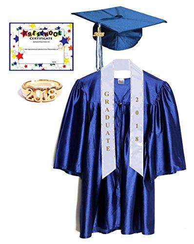 Budget Graduation Blue Shiny Deluxe Preschool Cap and Gown Graduation Set - (Preschool Graduation Gowns)