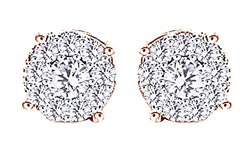14K Rose Gold Over Sterling Silver White Cubic Zirconia Hip Hop Stud Earrings by wishrocks