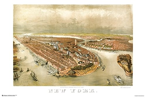 New York City Panoramic Map 1874 Art Print Poster 36x24 ()