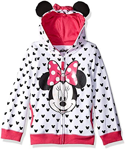 Disney Big Girls' Minnie Hoodie with Bow and Ear, White, Small/7