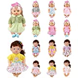 Huang Cheng Toys Set of 12 for 12 Inch Alive Lovely Baby Doll Clothes Dress Outfits Costumes Dolly Pretty Doll Cloth Handmade Girl Christmas Birthday Gift