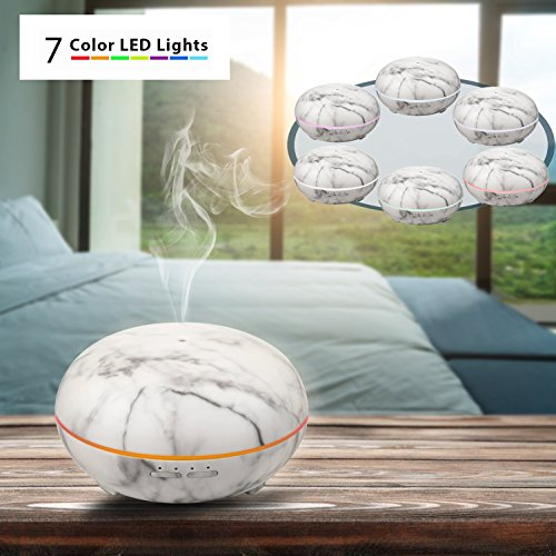 Elegant Choise Essential Oil Diffuser White Marble 300ml Adjustable Mist Size Ultrasonic Aroma Diffuser and Air Humidifier Waterless Auto Shut-off and 7 LED Light Colors for Office Home Christmas Gift