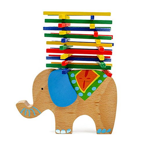 Wooden Puzzle Stacking Building Blocks Balance Board Table Game Elephant Balancing Toy Educational Gift For Kids 40 pieces by Jollymap