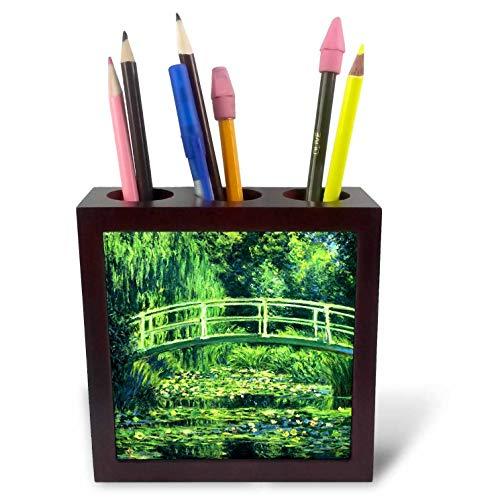 3dRose VintageChest – Masterpieces - Claude Monet - Bridge Over a Pond of Water Lilies - 5 inch Tile Pen Holder (ph_303316_1) - Bridge Over Pond