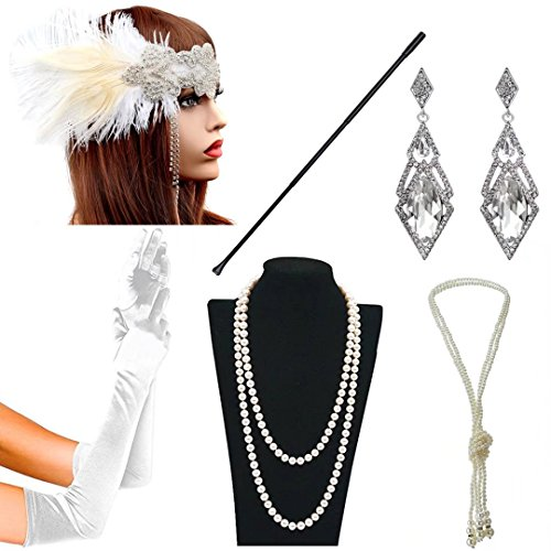 1920s Accessories Themed Costume Mardi Gras Party Prop Additions to Flapper Dress (O) -