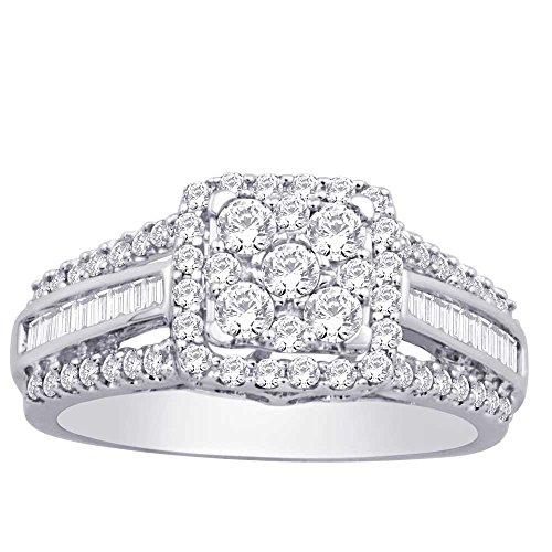 - 10K White Gold 0.95 ct.tw Diamond Flower Ring Fine Rings